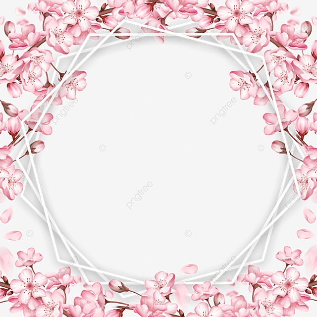 creative polygonal spring pink cherry blossom border