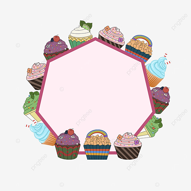 cupcake dessert shop border stroke