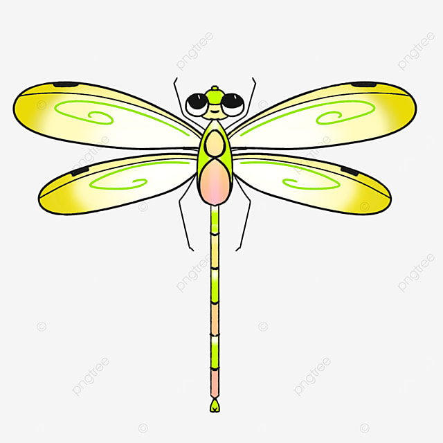 cute yellow dragonfly clipart