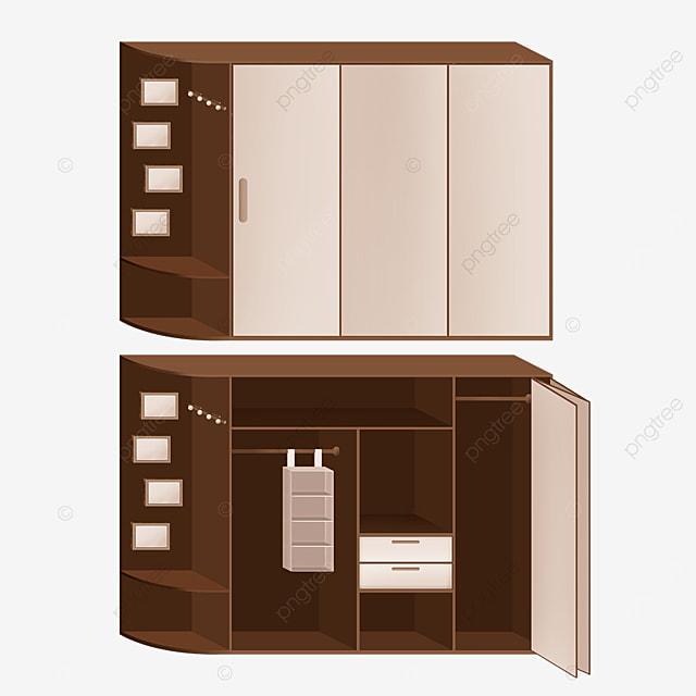 dark brown folding door cupboard clipart