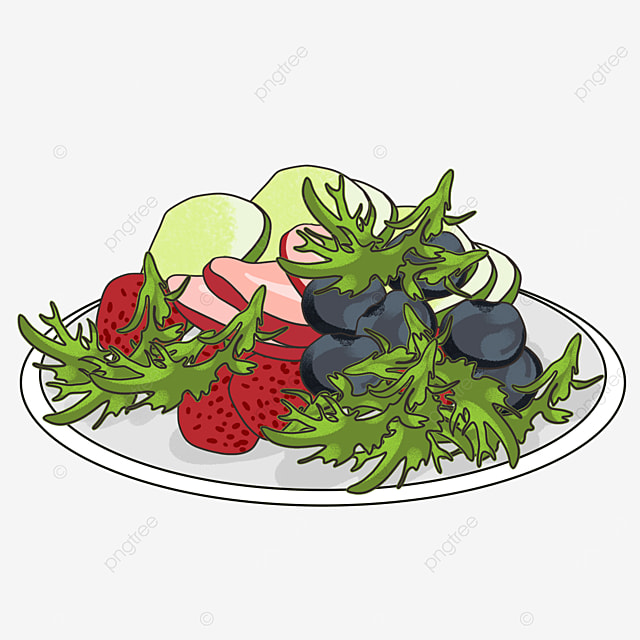 delicious fruit and vegetable salad clipart