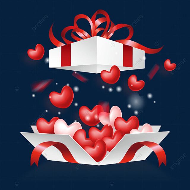 dynamic open love box valentine jelly texture love heart
