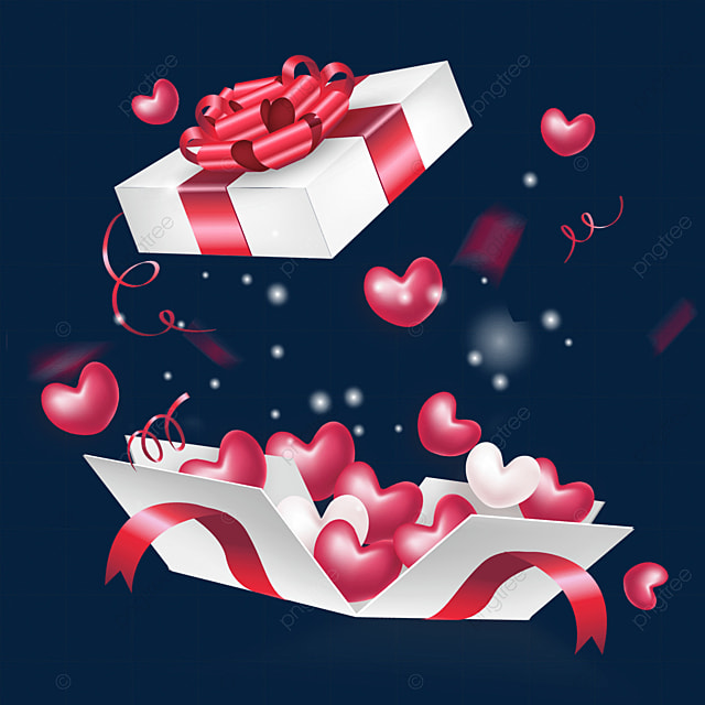 dynamic open red ribbon decoration love box valentines day