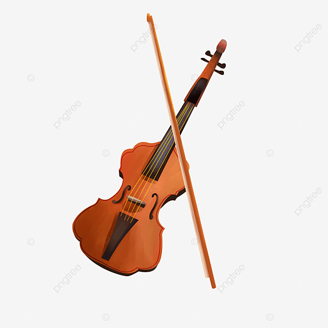 elegant classical brown musical instrument violin clipart