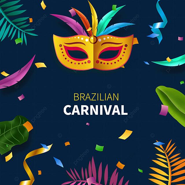 exquisite brazilian carnival mask border