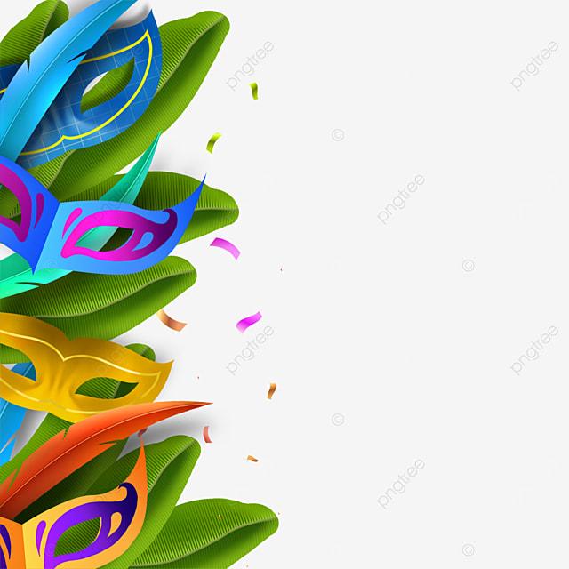 exquisite rainbow color brazilian carnival mask border