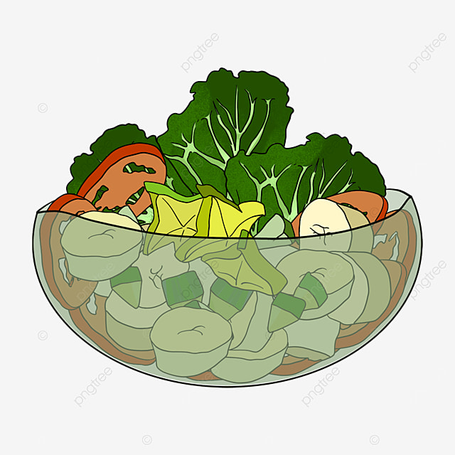 fruit vegetable salad in glass bowl clipart