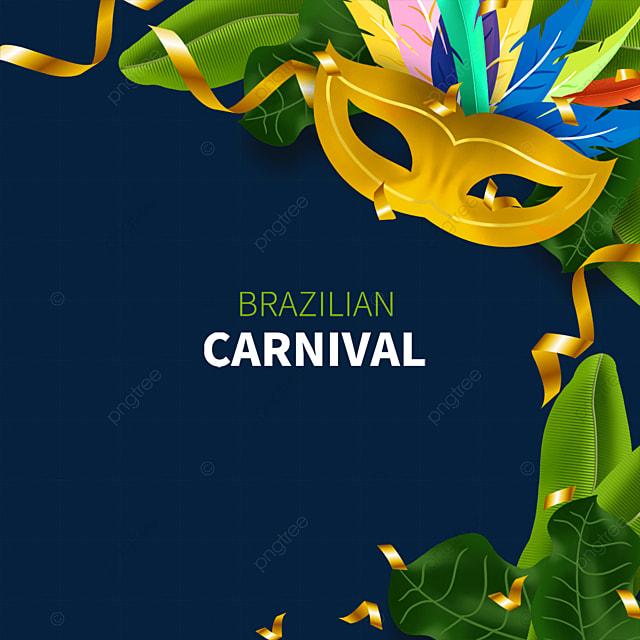 golden brazilian carnival mask border