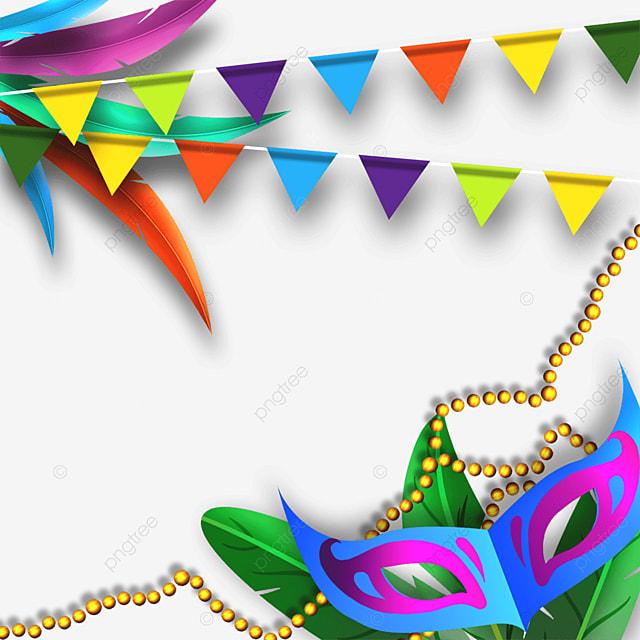 golden chain decorated brazilian carnival mask border