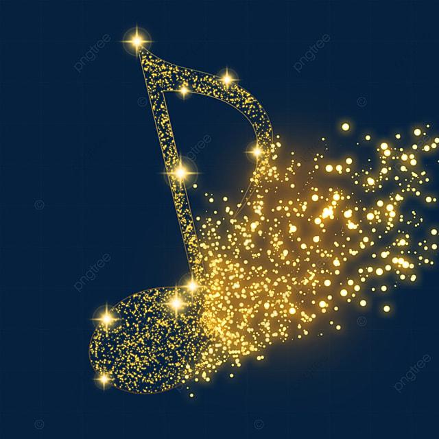 golden glitter eighth note music glow light effect particles