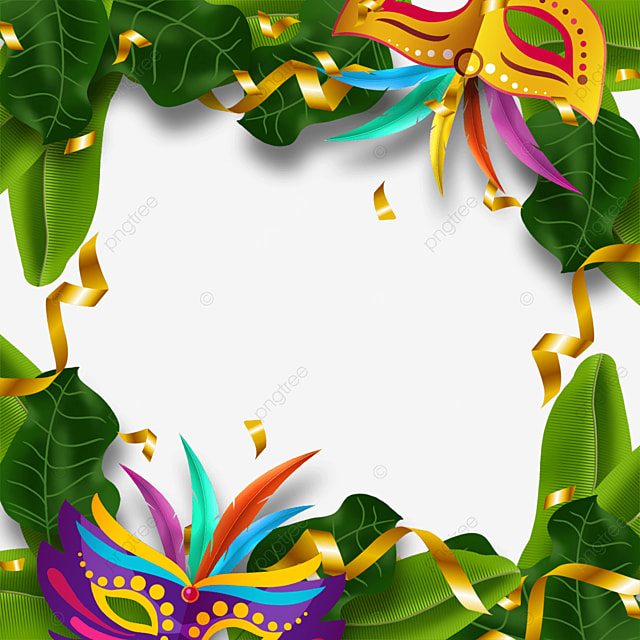 golden ribbon brazilian carnival mask border