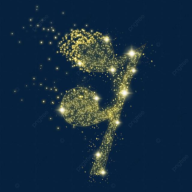golden sixteenth rest music luminous light effect particles