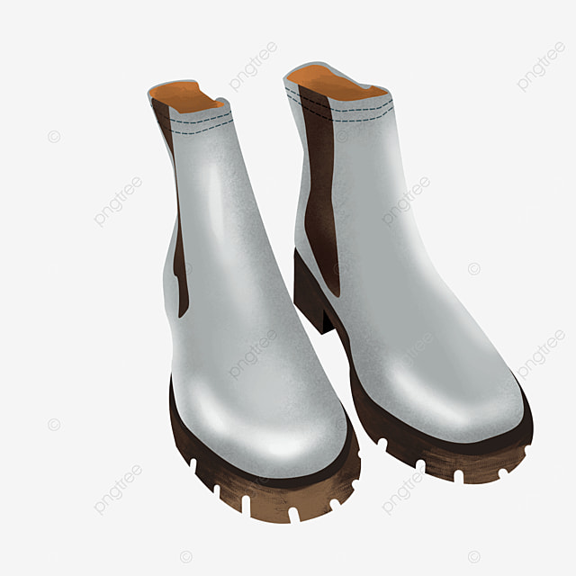 gray leather dress shoes boots clipart