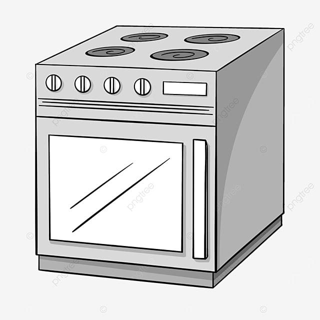 gray line cartoon kitchen oven clipart