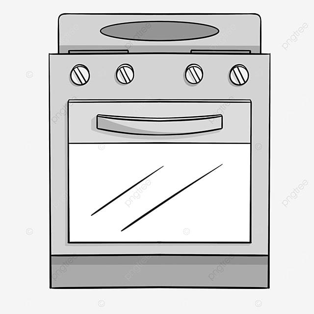 gray line cartoon oven clipart