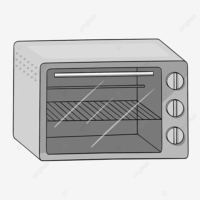 gray line cartoon shelf oven clipart