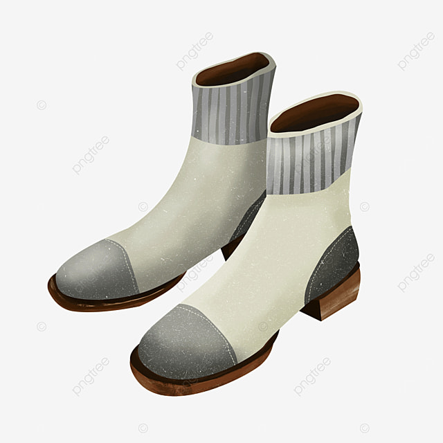 gray white ankle boots shoes boots clipart
