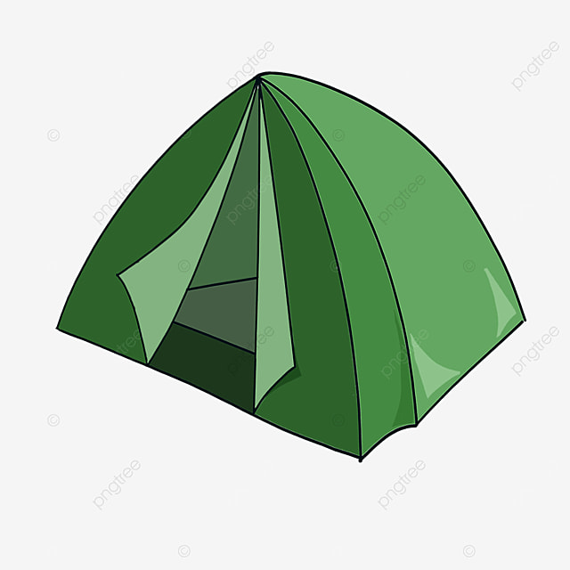 green comfortable foldable tent clipart