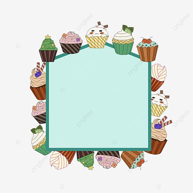 green cupcake shop selling border