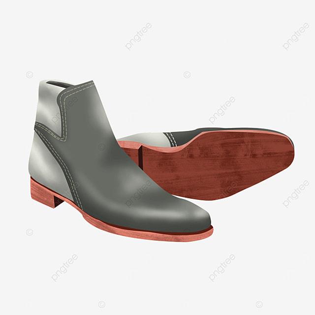 grey retro female dress shoes boots clipart