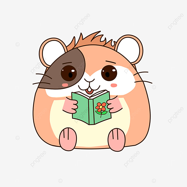 hamster reading a book clipart