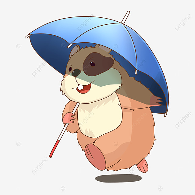 hamster with umbrella clipart