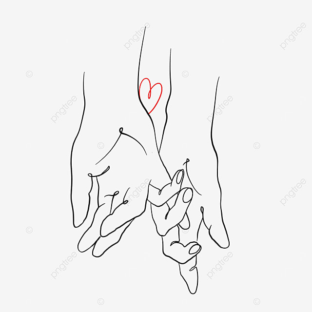 hand in hand hook valentine line drawing