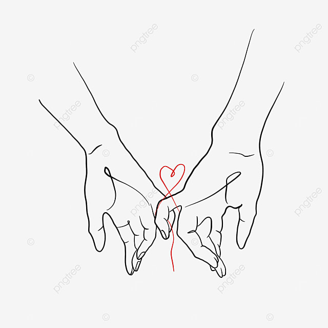 holding hands love red line valentine line drawing