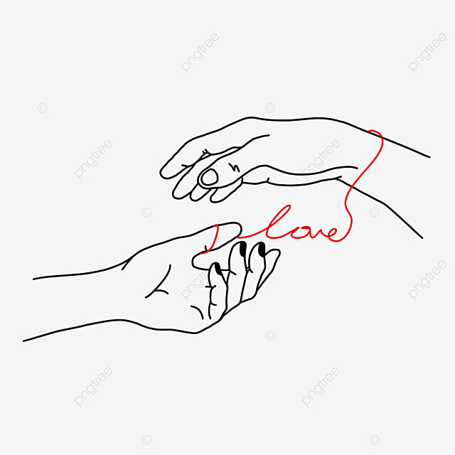 holding hands red line valentine line drawing