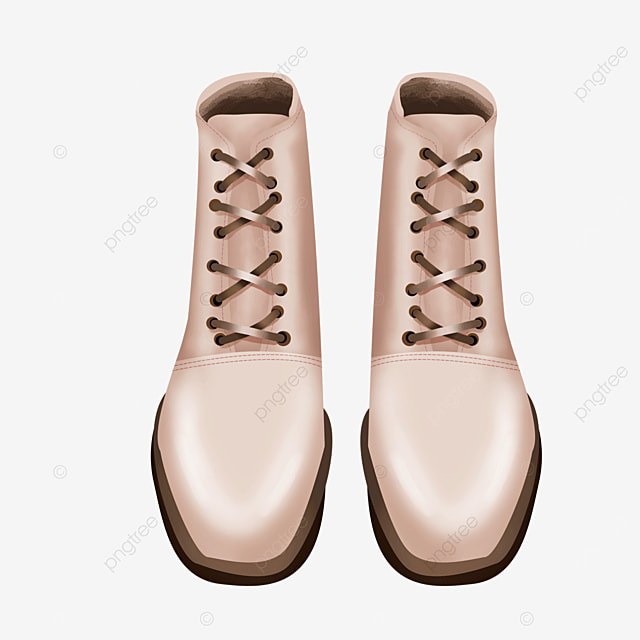 lace up shoes in front of boots clipart