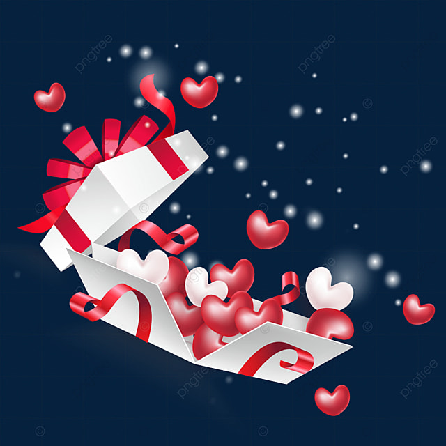 light particle effect opens the love box for valentines day