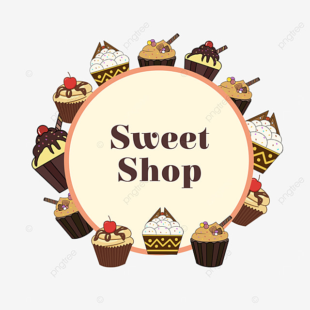 light yellow cupcake shop decoration border