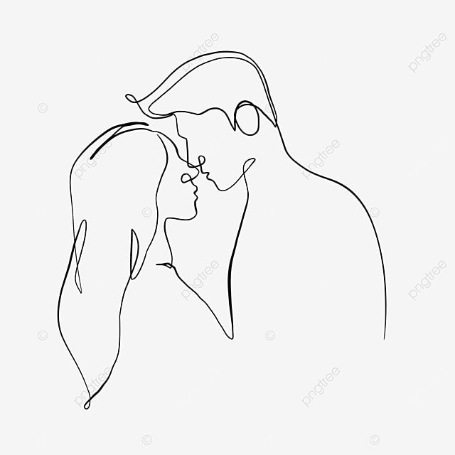 minimalist style romantic couple valentines day line drawing