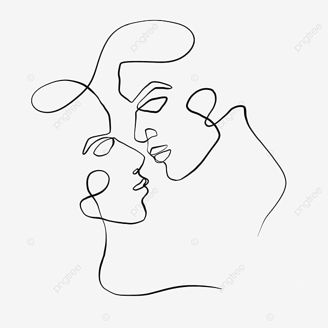 one stroke kissing valentines day line drawing