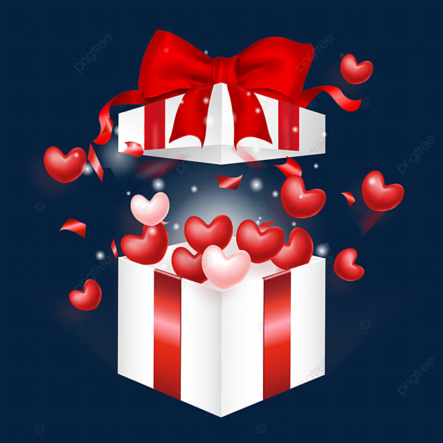 open love heart red bow box valentine