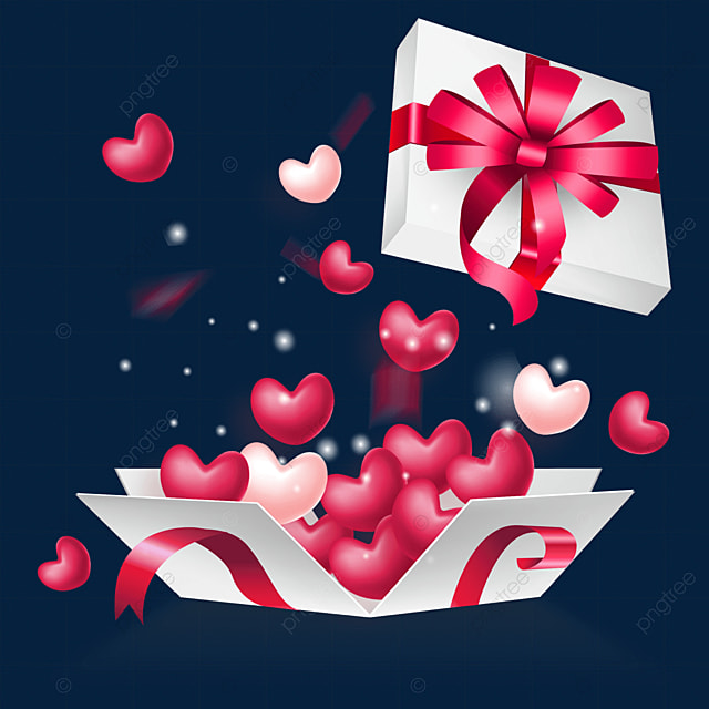 open love red ornate ribbon box valentines day