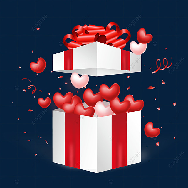 open love texture ribbon knot box valentines day