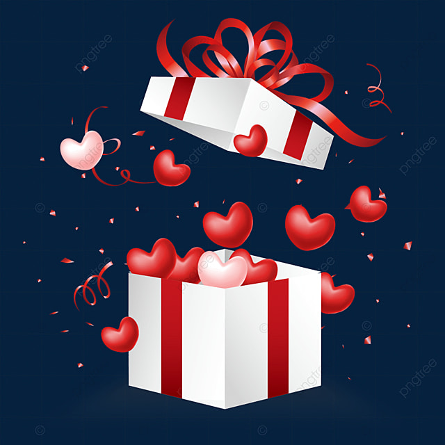 open the love box for valentines day and red jelly texture love heart