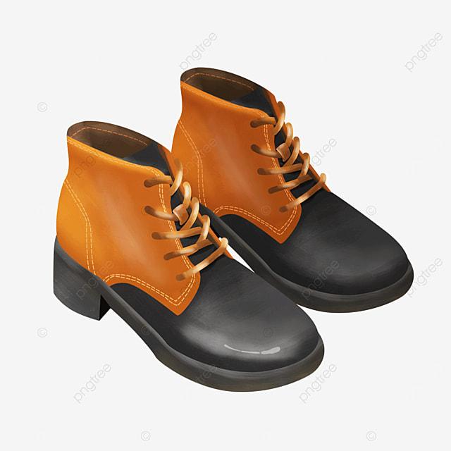 orange black laces fashion short boots boots clipart