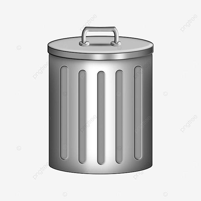 ordinary silver trash can