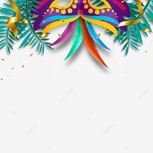 ornate brazilian carnival mask border