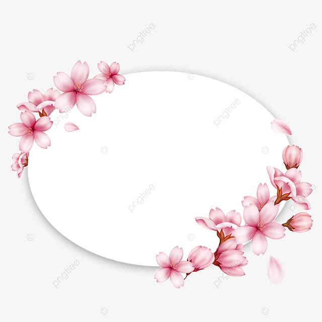 oval spring pink cherry blossom border