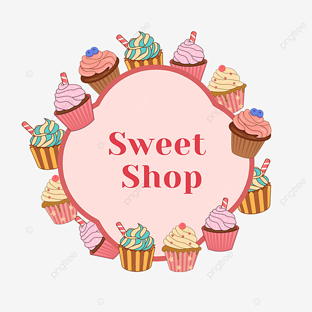 pink cupcake dessert shop border