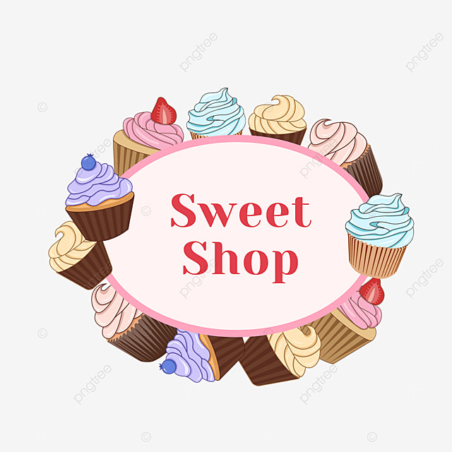 pink cupcake shop oval border