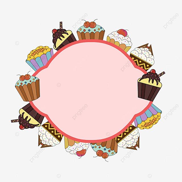 pink cupcakes surround border