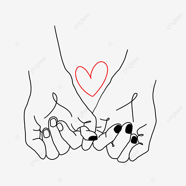 pinky thumb hook love heart valentine line drawing