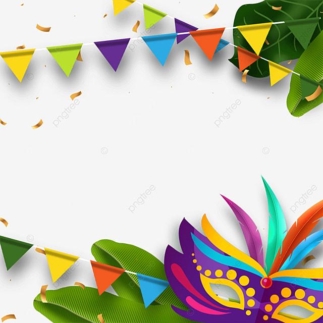 plant decoration brazilian carnival mask border