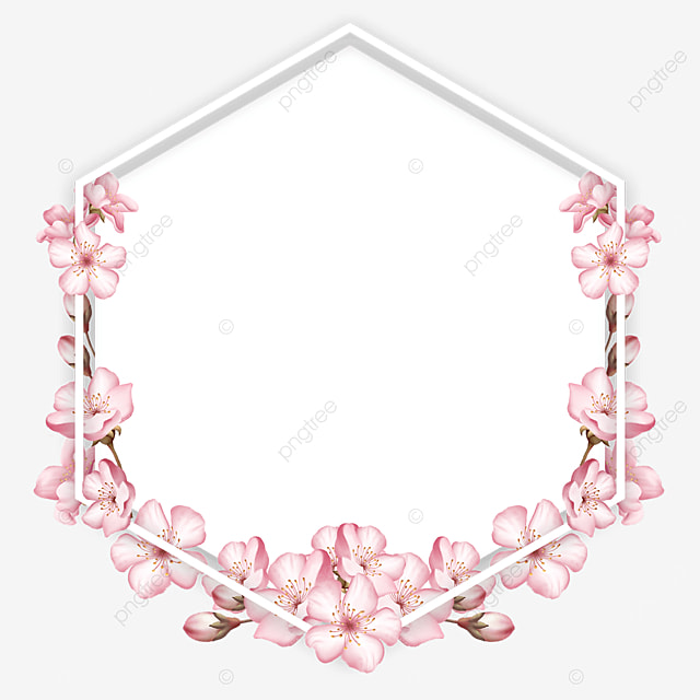 polygonal pink spring cherry blossom border