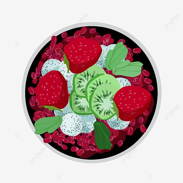 pomegranate strawberry fruit salad clipart