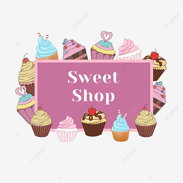 purple cake shop shopping border